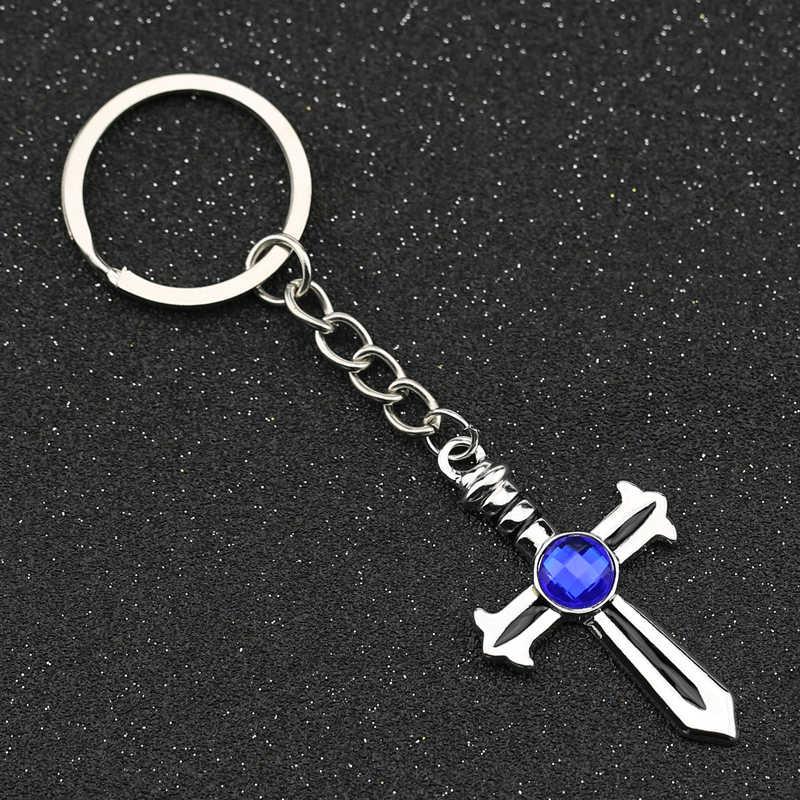 Fairy Tail brelok szary Fullbuster krzyż niebieski kryształ kolor srebrny brelok brelok do kluczy pierścień moda Hot Anime biżuteria hurtowych