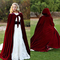 Wine Velvet Hooded Cloak Wedding Cape Faux Fur Shawl