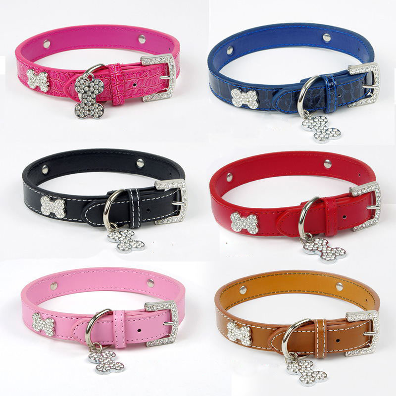 Envío Gratis Collar de Perro Productos Para Mascotas Rhinestone Collar de Cuero