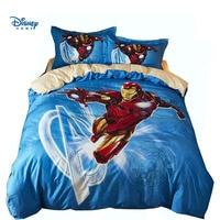 Marvel Iron Man bed linen 3d blue bedding full twin queen size 100% cotton comforter cover set boy girl gift cartoon pillow case