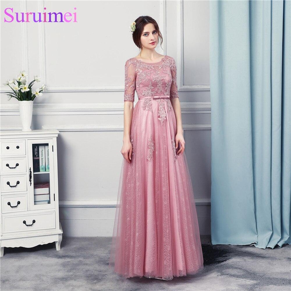 Free Shipping O Neck Grape Long   Bridesmaid     Dresses   Half Sleeves See Through Floor Length Corset Back Bride Maid Vestidos De