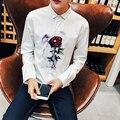 2016 Новая Мода Мужская Повседневная Рубашка Известная Марка Slim Fit Рубашки Высокого Качества Мужской Черный/Белый Рубашка Плюс Размер горячие Продажи