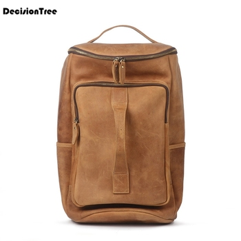 Youth Casual Fashion Men Mountaineering Genuine Cow Leather Shoulder Backpack New Mochila Designer Unisex Bag Male Backpack LY56