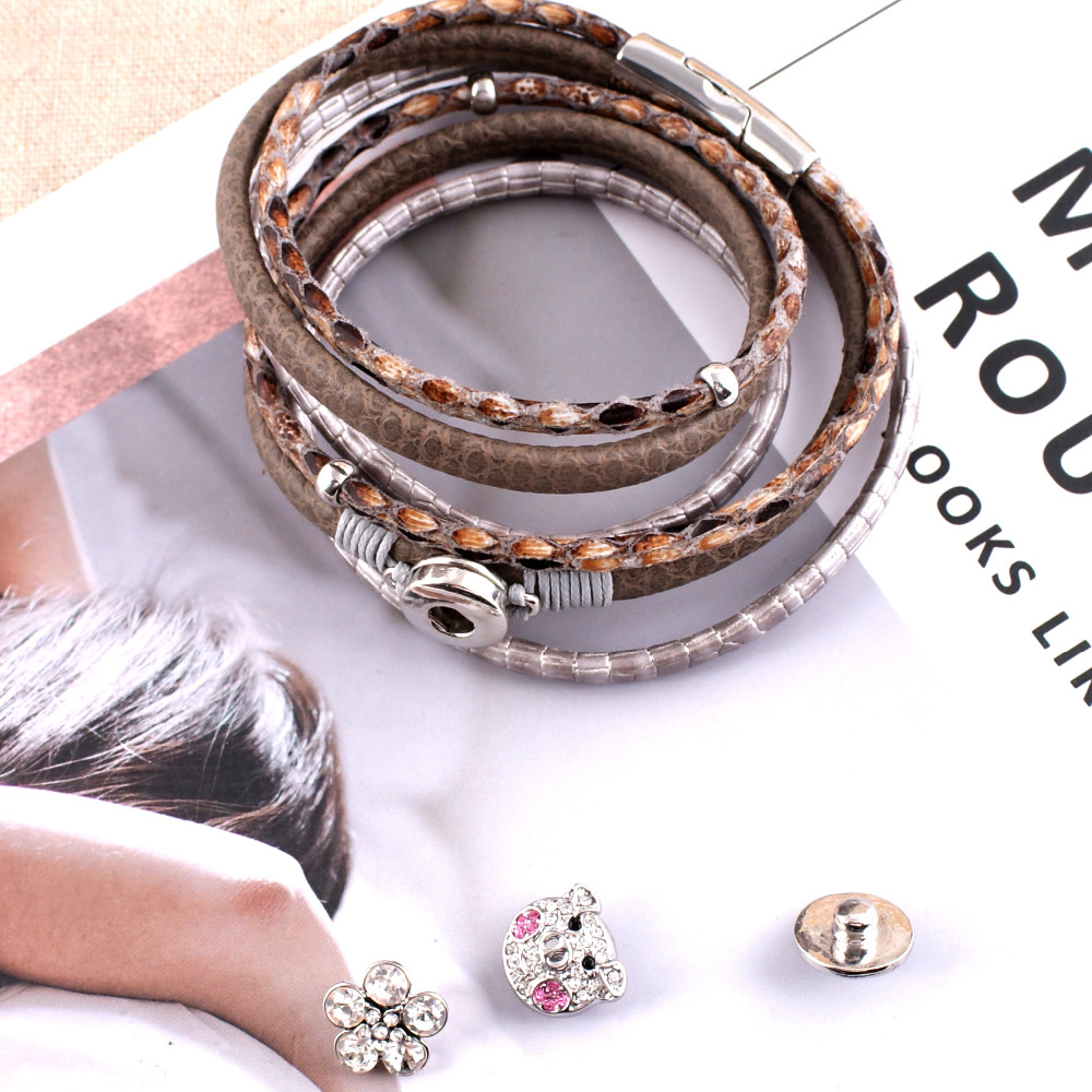 New Design Snap Bracelet&Bangles Plated Charm Bracelets For Women Fit 12mm Snaps Button Jewelry KC0201-GS without snap button