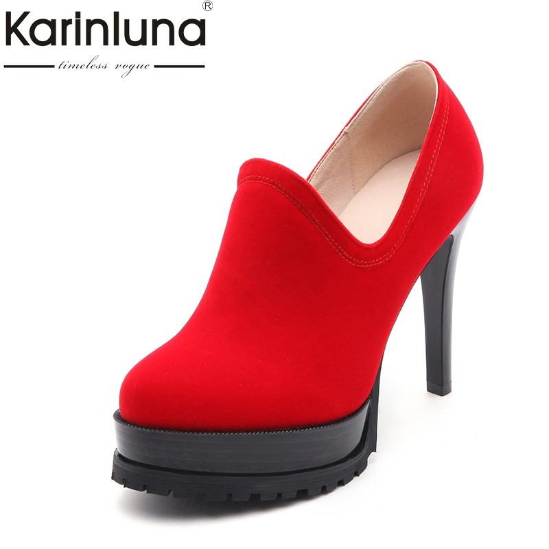KARINLUNA 2018 High Quality Platform Black Red Women Shoes Sexy Round Toe Thin High Heels Office Lady Party Wedding Shoes Woman