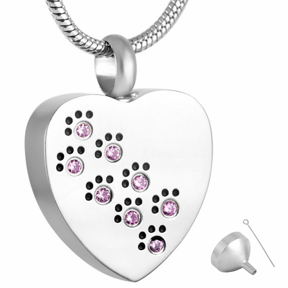 MJD8383 Urn Necklace Cremation Memorial Keepsake Stainless Steel Urn Pendant Dog Cat Paw Prints