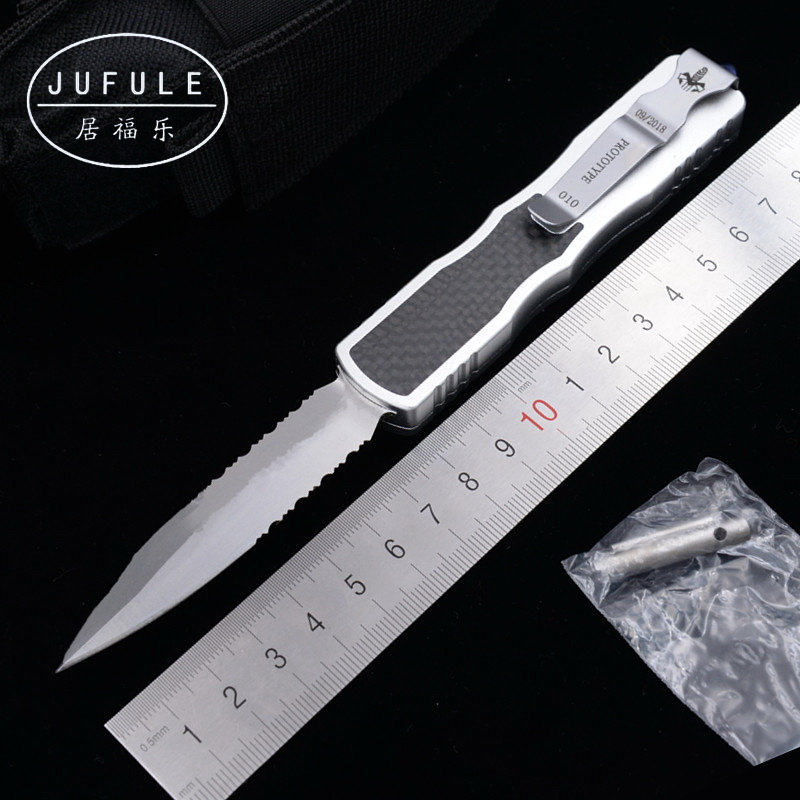 JUFULE New Custom Prototype 12C27 steel blade Carbon fiber aluminum handle camping survival outdoor EDC hunt tool kitchen <font><b>knife</b></font> image