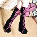 Mulheres calçar botas de salto alto moda 2016 auutm inverno novo 14 cm plataforma de salto alto botas de zíper lateral botas de mujer