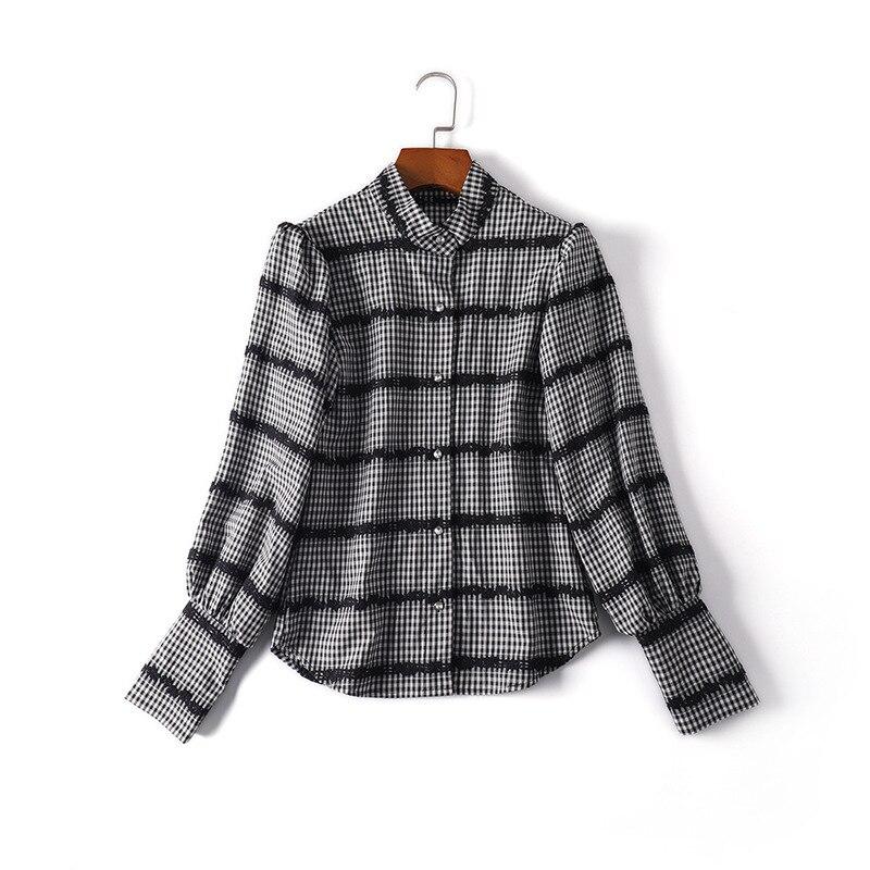 Vintage Soporte blue De Encaje Tops Coreano Black Mujer Cuello Damas Plaid Moda Arco Blusa Camisa Nuevo Impresión BYSqBI