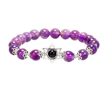 FYJS Silver Plated Star of David Connect Round Beads Elastic Bracelet Natural Purple Amethysts Stone Jewelry цена и фото