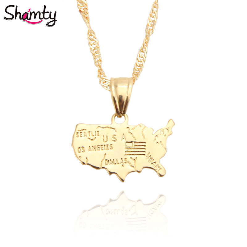 Shamty Personalized United States USA Map Pendants Necklace Pure Gold Color Unisex American Jewelry Gift Items Free shipping ...
