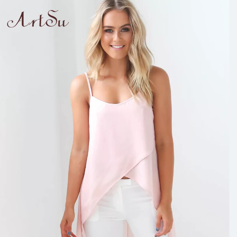 ArtSu Letní šaty Župan Sexy Neformální Růžová Bílá Šínová řemínek Šifón Pláž Šaty Ženy Oblečení Robe Vestido De Festa DR50110