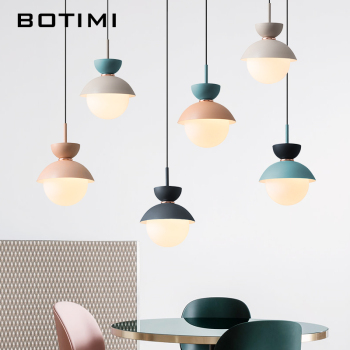 BOTIMI Modern LED Pendant Lights With Glass Lampshade For Dining Room Colorful Restaurant Hanging  Kitchen Lighting Fixtures