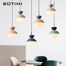 BOTIMI الحديثة قلادة led أضواء مع عاكس الضوء الزجاج لغرفة الطعام مطعم الملونة معلقة تركيبات الإضاءة المطبخ