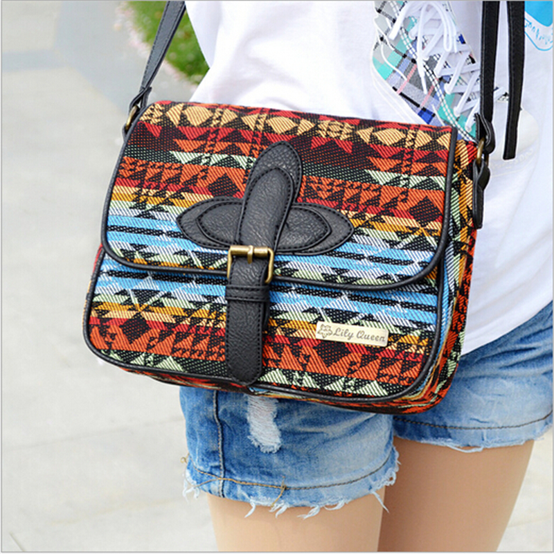 2017 designer women National messenger bags canvas print cross body shoulder bags ladies small tote handbags high quality