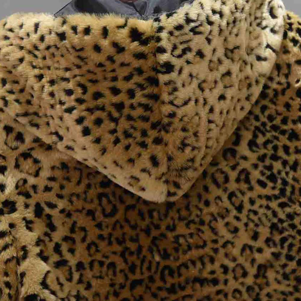 Fausse En Invierno Léopard Zip Chaquetas 2018 De Cardigan Casual Femme Col À Capuche Imprimé Poche La Femelle Outwear Fourrure Mujer Manteau 55Oq7