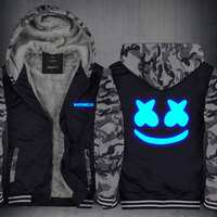 New Winter Jackets And Coats Marshmello Hoodie DJ Hooded Thick Zipper Men Sweatshirts CM403
