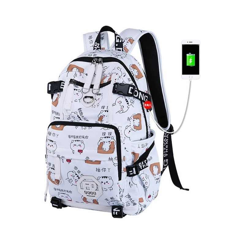 26cec9416cc7 New Black anime Emoticon backpack USB Charging shockproof laptop backpack  Student cute pattern school bag oxford school backpack