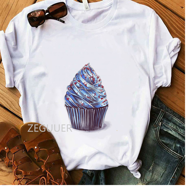 Ice Cream Lover Casual T-shirt Lady Blueberry Ice Cream Illustration White T-Shirt Women Vogue Summer Tees Cotton Soft Tops