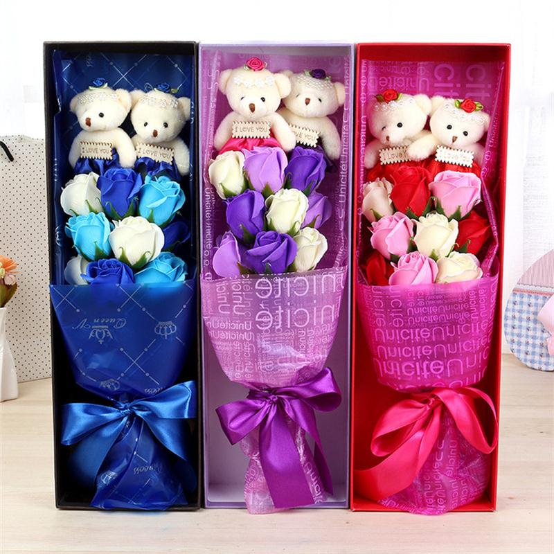 Handmade low price teddy bear and soap flowers bouquet gift box creative Valentine/Graduation Gift