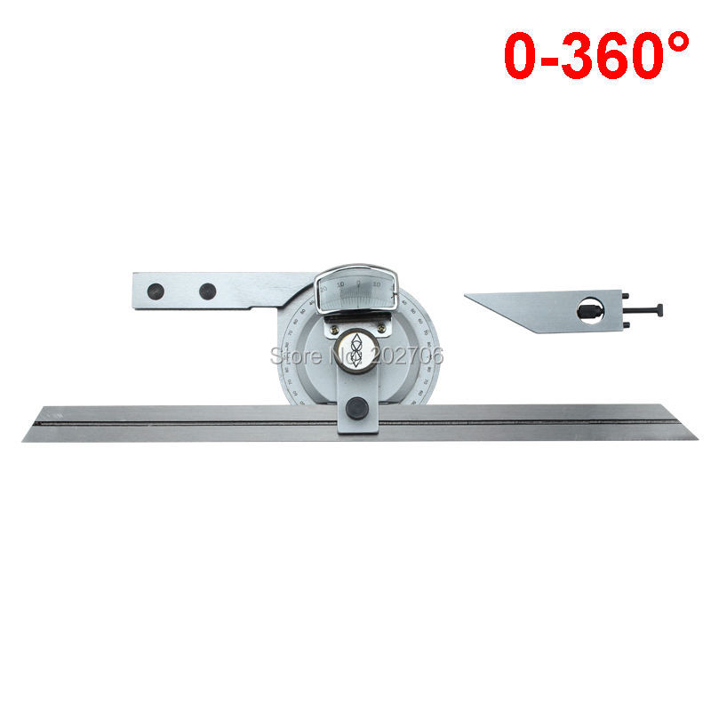 0-360 Degree Universal Bevel Dial Protractor Blades Satin