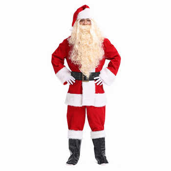 2019 New Arrival Santa Claus Costume Christmas Clothes Cosplay Xmas Suit Top Pants Hat Wig Beard Belt Shoe White Gloves Glasses