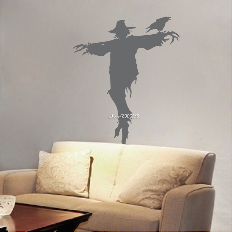 Scarecrow vinyl wall stickers removable waterproof wall decals decor living room wallpaper high quality wall tattoo mural sa774 in wall stickers from home