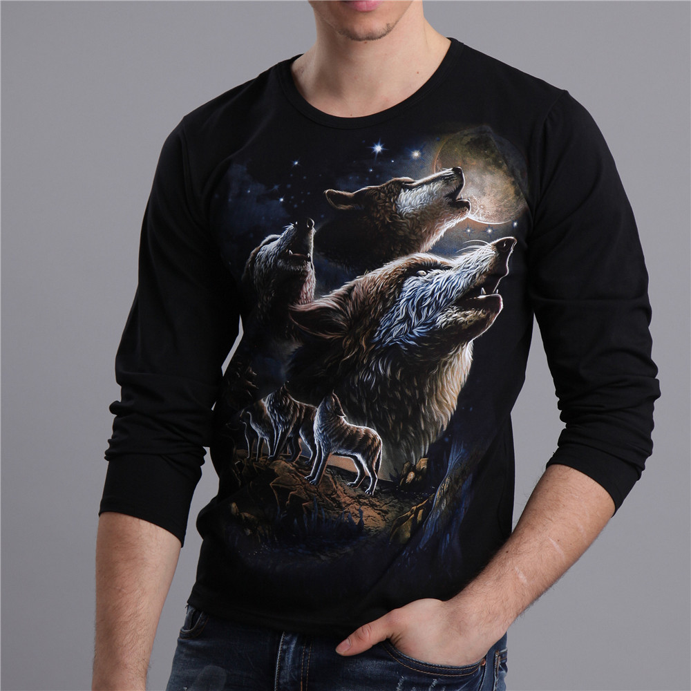 2016 Latest Fashion Wolf Design Printed T Shirts Men Autumn Long Sleeve  Black High Quality Spring Casual Mens Clothes MT-15030 0d289fb1a12