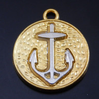 10PCS 23*19*2mm Gold Alloy Round Anchor Charms Pendant Jewelry Making 50081