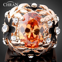 Chran Brand Jewelry Gold Color Crystal Enamel Flower Rings Fashion Sparkling Cubic Zircon Promised Women Accessories