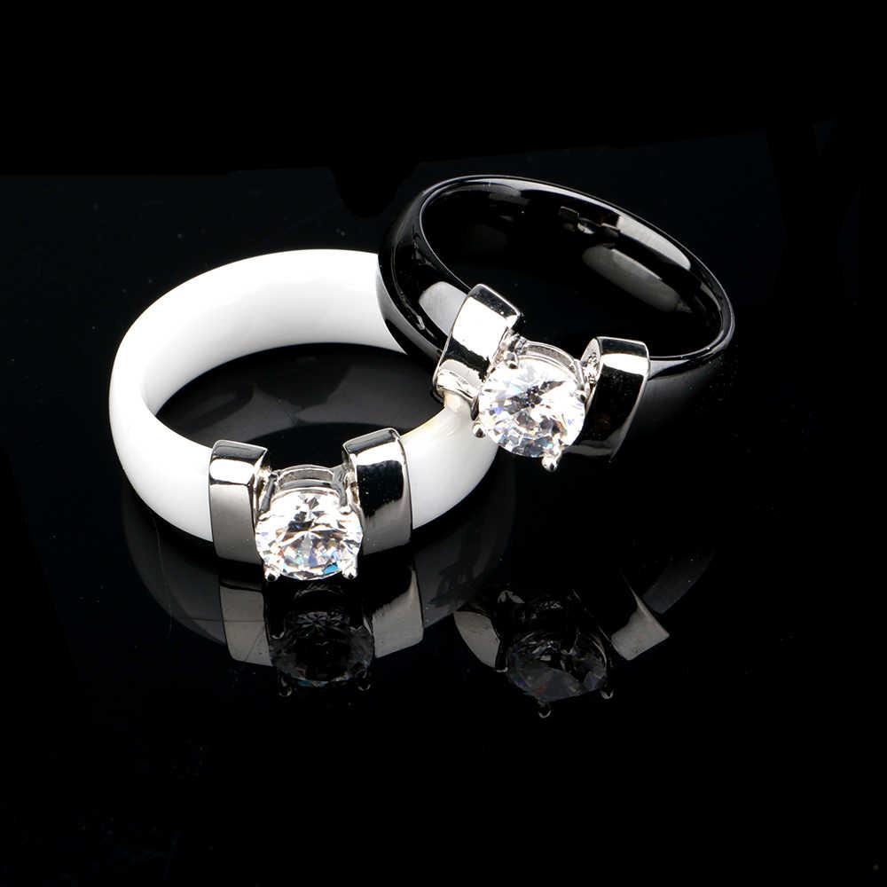 ใหม่สีดำเซรามิคงานแต่งงานแหวนกว้าง 6 มม.สีขาว Bling PLUS Cubic Zirconia สำหรับสุภาพสตรีประณีต Cabochon Smooth หมั้นแหวนผู้ชาย