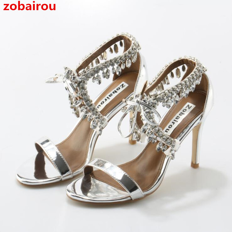 Zobairou Bling Bling Women Gladiator Sandals Brand Suede Strappy High Heels Shoes Woman Lace Up Pumps Rhinestone Zapatos Mujer hot metallic gold strappy pompom embellished crystal wooden heel gladiator women sandals women shoes sanglaide zapatos mujer