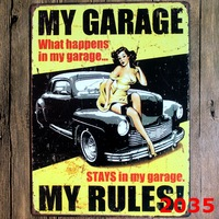 MY GARAGE Large Vintage License Plate Metal Signs Home Decor Office Restaurant Bar Metal Painting Art