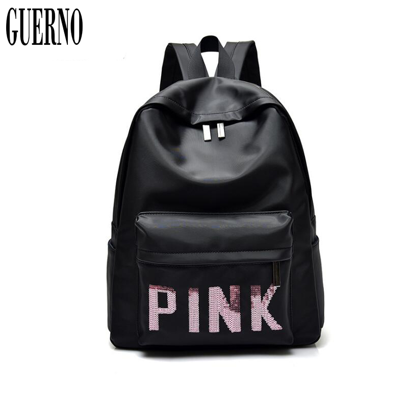 GUERNO new nylon leather letter gril backpack high capacity school bags for teenager High Quality Children