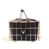 Retro Elegant Deer Head Metal Basket Style Ladies Handbag Black Pu Leather Totes Party Punk Bag Women's Purse Shoulder Bag Brand