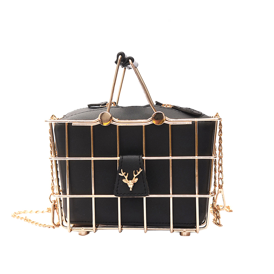 Retro Elegant Deer Head Metal Basket Style Ladies Handbag Black Pu Leather Totes Party Punk Bag Women's Purse Shoulder Bag Brand