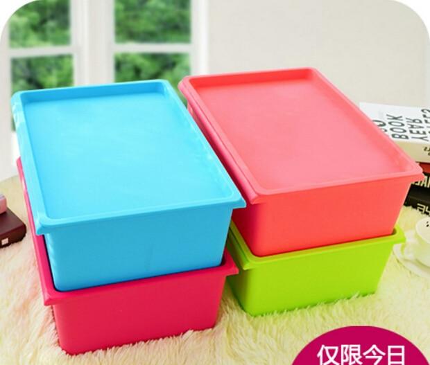 Del color del caramelo pl stico organizador con tapa cajas for Cajas almacenamiento ikea