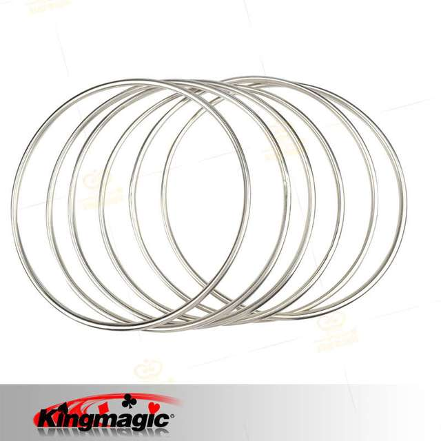 6 Linking Rings con Imán De Tubos De Acero (Diámetro: 30 cm)-Trucos de Magia, magia de cerca, props magia de escenario, Accesorios