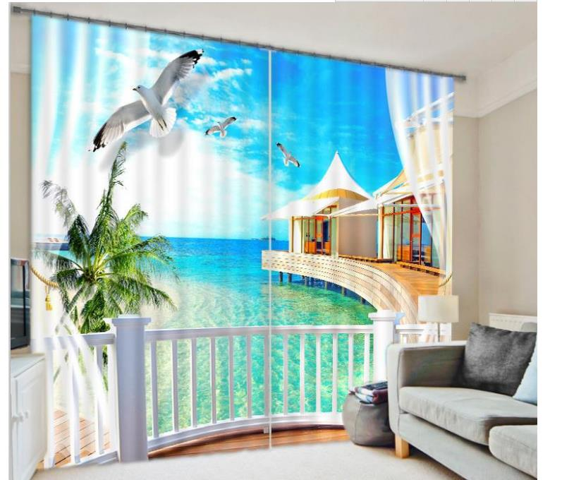 Superior Customized 3D Curtains Nature Window Curtains Beach Scenery Curtains For  Living Room(China (Mainland