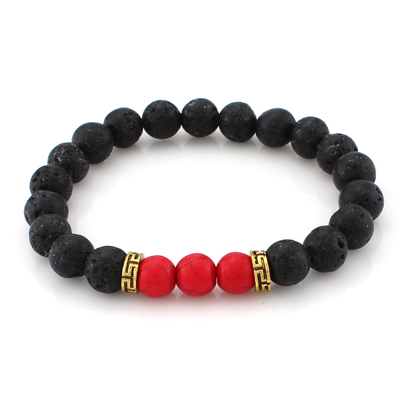 8mm Lava Stone Beads Bracelet Men Strand Bracelets For Women Handmade 2017 Men Jewelry Charm Cuff Wristband Adjustable Bileklik