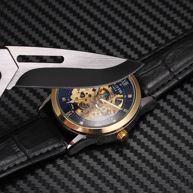 WLISTH New Watch Men Skeleton Automatic Mechanical Watch Gold Skeleton Vintage Man Watch Mens FORSINING Watch Top Brand Luxury 4