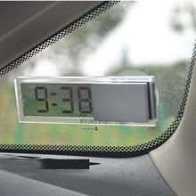 Automotive Interior Accessories Mini Digital LCD Display Auto Car Electronic Transparent Clock Schedule with Sucker for Home