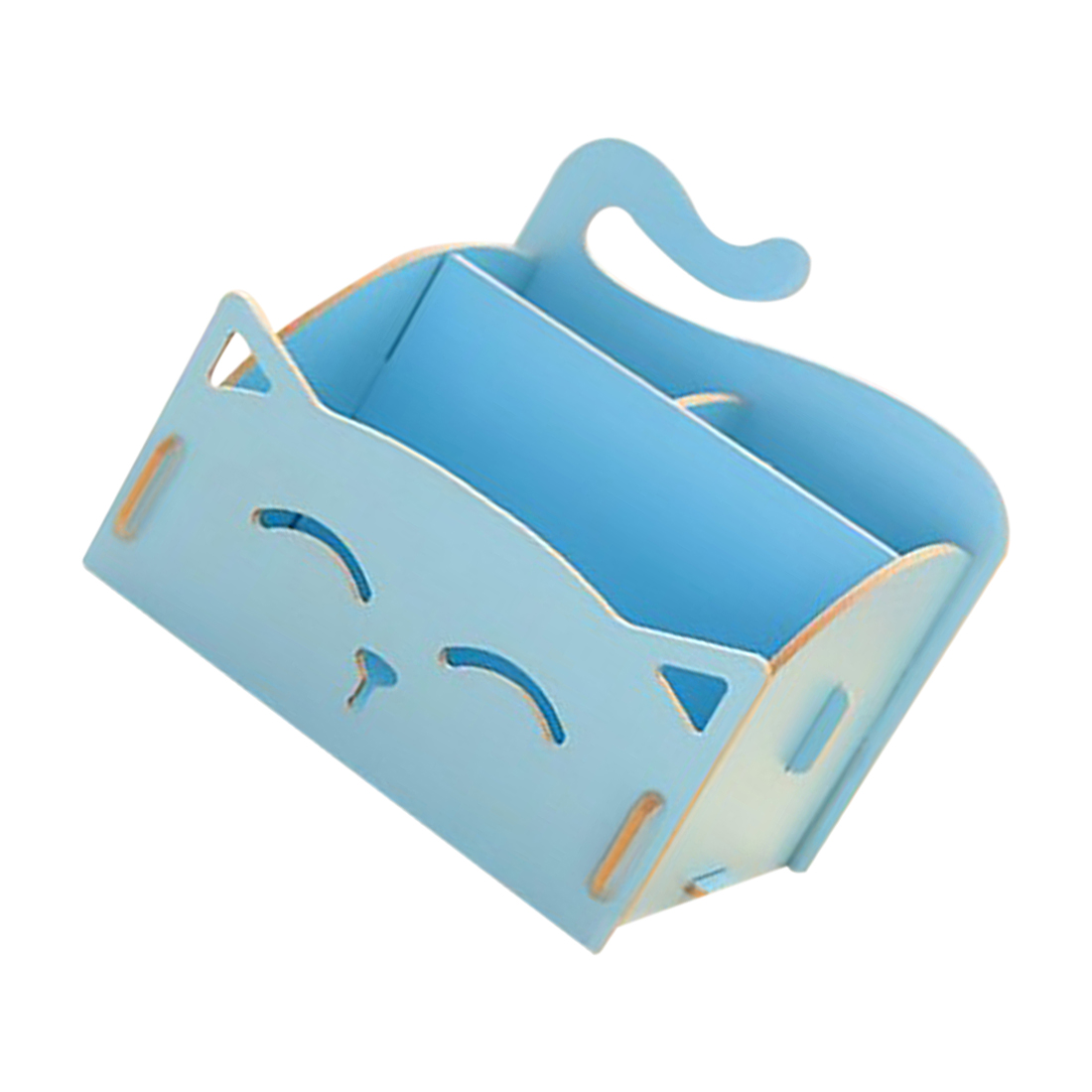 Best Wooden Box Cute Cat Pen Box Desktop Storage Assembly DIY Wood Makeup Organizer Cosmetics Storage Box 15.4*13*13.5cm (BLUE)
