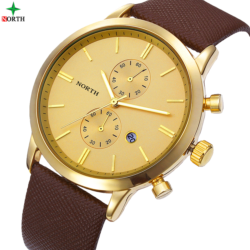 NORTH Gold Watch Fashion Quartz Watch Men Watches Top Brand Luxury Male Clock Business Men Wrist Watch Hodinky Relogio Masculino xinge top brand luxury leather strap military watches male sport clock business 2017 quartz men fashion wrist watches xg1080
