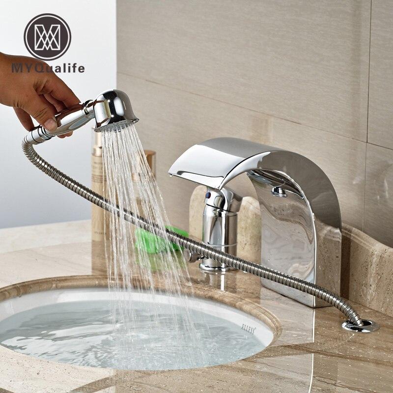 Polished Chrome Deck Mount Widespread Single Handle Bath Tub Faucet Bathroom Tub Mixer Tap w/ Waterfall Spout