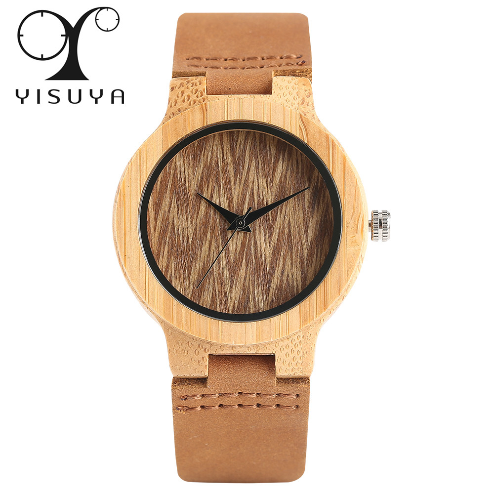 YISUYA Bamboo Wood Ladies Watches Analog Genuine Leather Band Creative Nature Wooden Watch Women Sport Wristwatch Gift For Women watch mens nature wood bamboo genuine leather band wrist watch sport novel creative casual men women analog relogio masculino