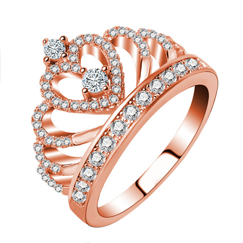 2017 New Luxury Female Crown ring Zircon rose gold color Engagement wedding heart ring for women ...