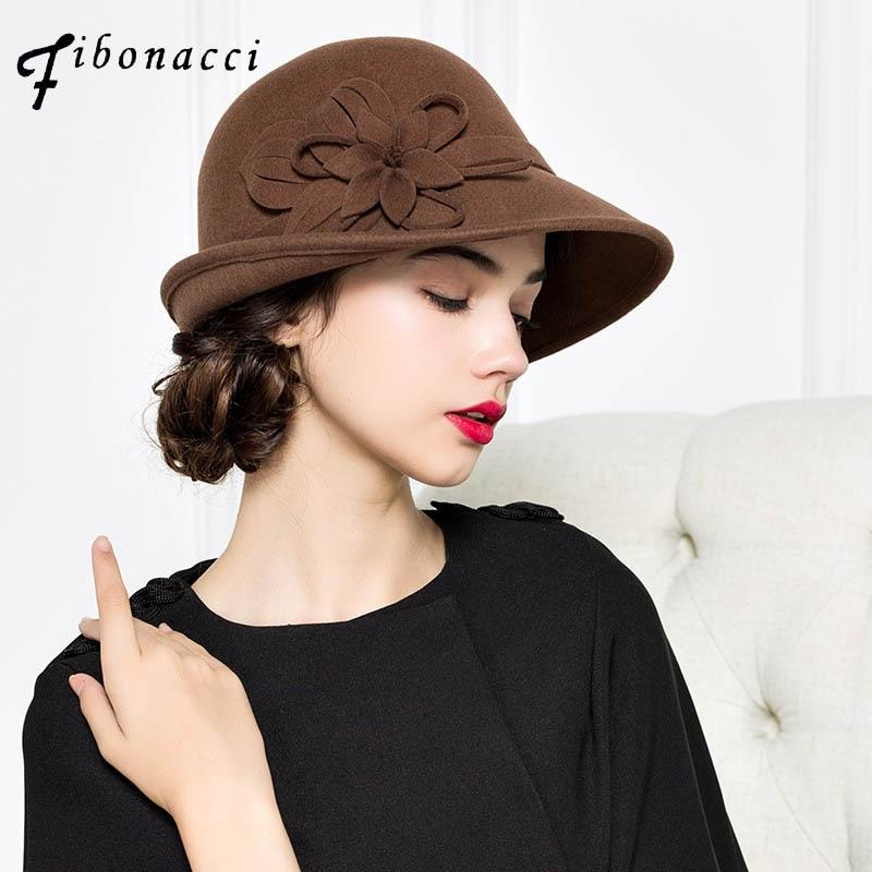 39470ef97295a Fibonacci Autumn Winter Trilby Hat Female Fedoras Wool Felt Dome Floral  Bowler Women Fedora Hats