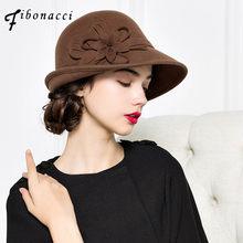 e7926887e2a Fibonacci Autumn Winter Trilby Hat Female Fedoras Wool Felt Dome Floral  Bowler Women Fedora Hats(