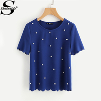Sheinside Scallop Trim Pearl Embellished Women Blouse 2017 Royal Blue Shirt Short Sleeve Cute Tops Elegant Ladies Blouse